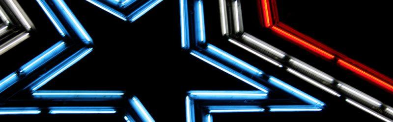 close up of the Roanoke neon star sign
