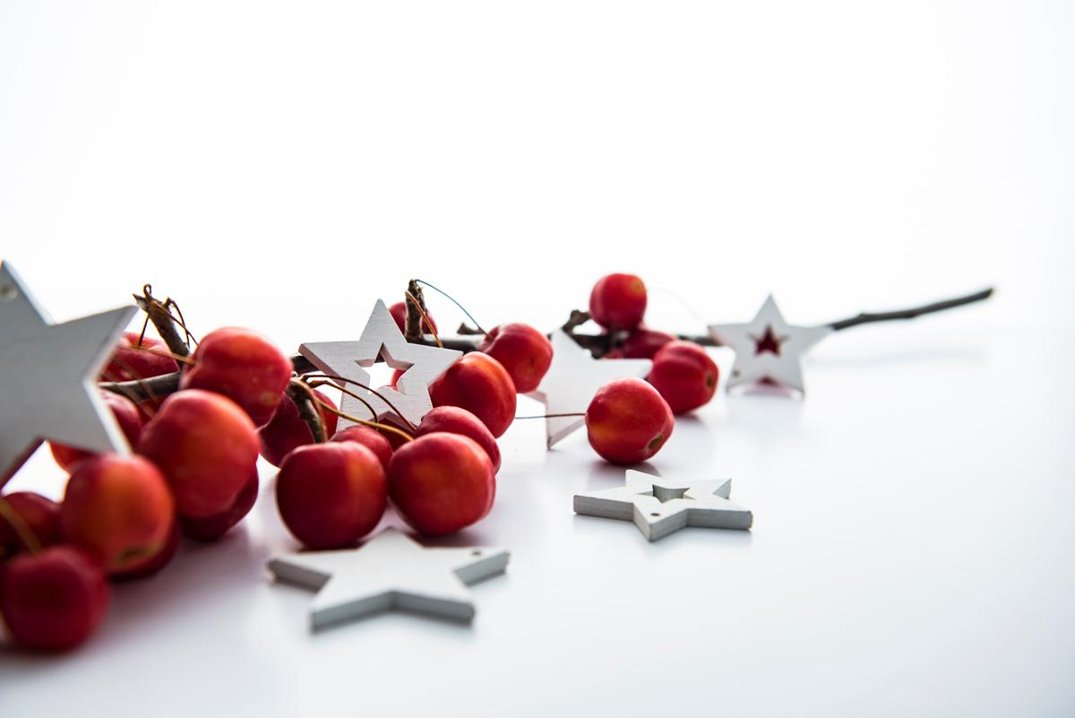 Holiday berries, wooden craft stars, twigs on white surface