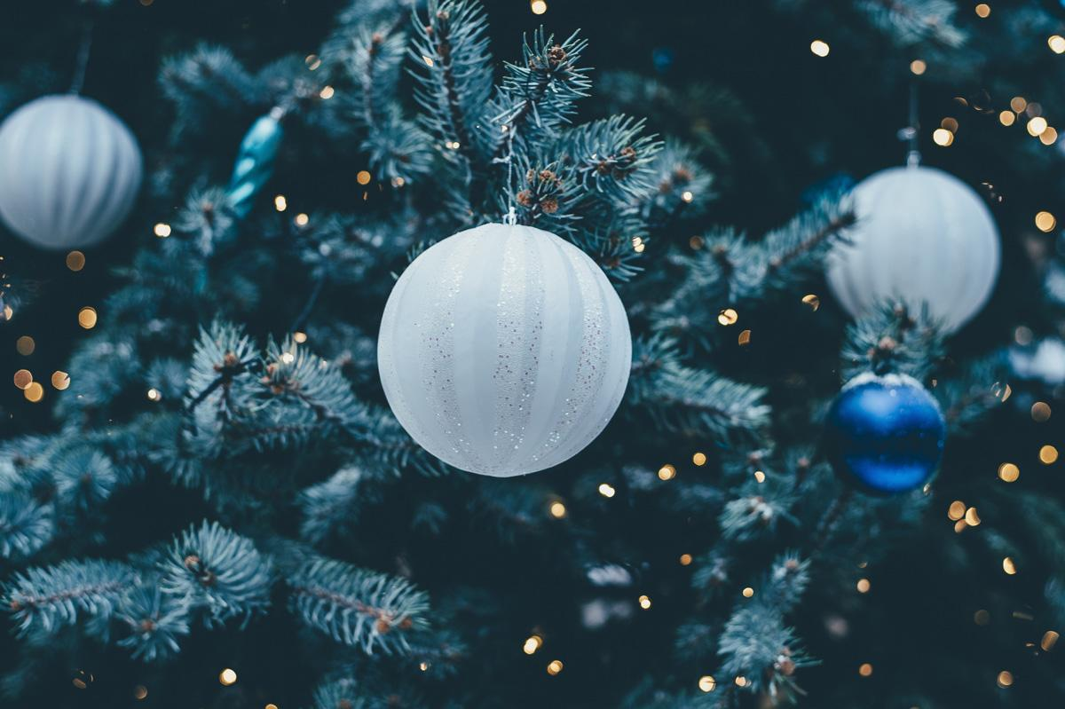 close up of white and blue bulb ornaments hanging on fir tree